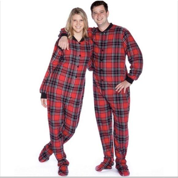 Big Feet Pajama Co. Other - Big Feet Pajama Unisex Red Flannel Footed Pajamas